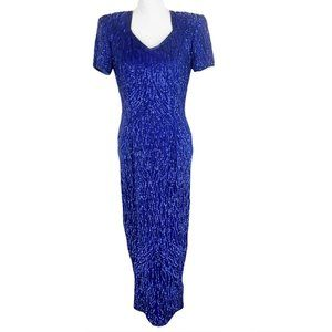 Vintage Stenay Royal Blue Sequin Silk Formal Gown